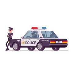 young policeman standing near car vector image vector image
