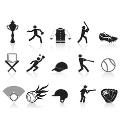 black baseball icons set vector image