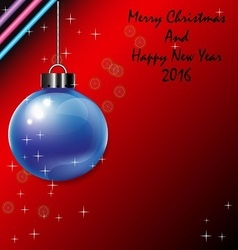 Blue christmas ball and happy new year 2016 vector