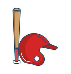 Baseball bat and helmet equipment isolated icon vector