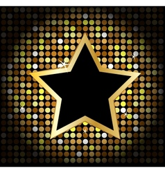 Star on the golden glittering disco background vector