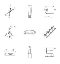 bathroom equipment icons set outline style vector image
