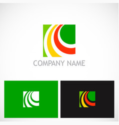 square loop colorful company logo vector image