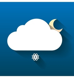 Night cloud moon and snow flake isolated on dark vector