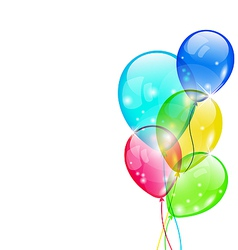 Flying colorful balloons isolated on white vector