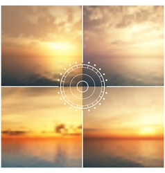 Ocean sunset blurred backgrounds vector