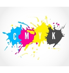 Cmyk ink splashes logo vector