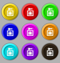 Luggage storage icon sign symbol on nine round vector