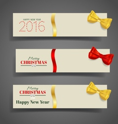 Holiday gift coupons with ribbons vector