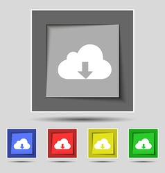 Backup icon sign on original five colored buttons vector