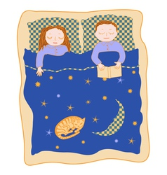 Family bed cartoon vector