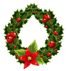 Christmas green and red embellishment with berry vector