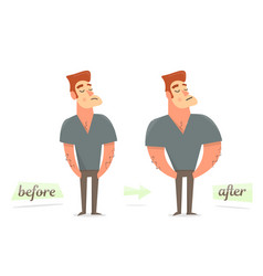 before and after weight loss thick and thin man vector image
