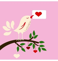 bird with love card for you design vector image