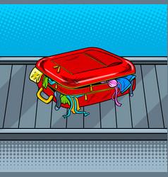 broken bag on baggage claim tape pop art vector image