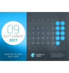 Calendar Template for September 2017 vector image vector image