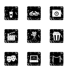 Cinematography icons set grunge style vector
