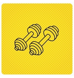 Dumbbell icon Fitness sport or gym sign vector image vector image