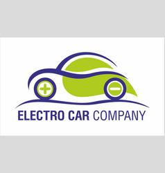 Eco electric car company logo vector