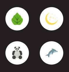 Flat icons night foliage playful fish and other vector