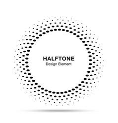 halftone circle frame oval dots logo emblem vector image