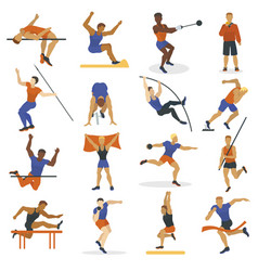 high jump athlete sport men athletics characters vector image