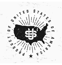 Made in USA monogram on grunge background vector image