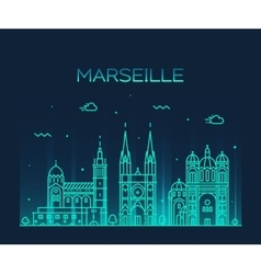 Marseille skyline silhouette linear style vector image