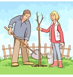 Planting tree vector