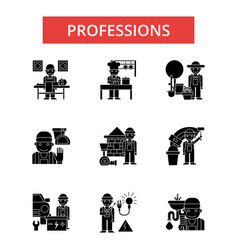 professions thin line icons linear vector image vector image