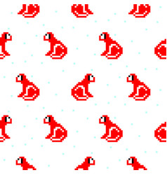 red monkey cartoon pixel art seamless pattern vector image