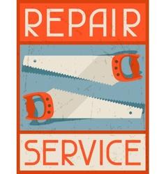 Repair service retro poster in flat design style vector