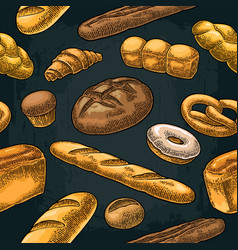 Seamless pattern for bakery color hand vector