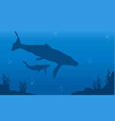 Silhouette of whale on ocean landscape vector