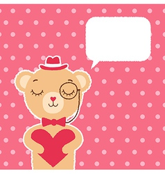 Valentines day card with bear boy vector image vector image