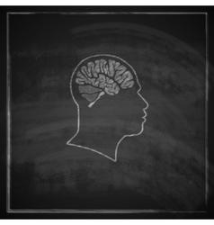 Vintage of human head with brain on blackboard vector