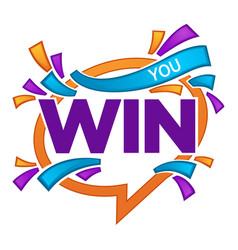You win congratulation banner template with vector