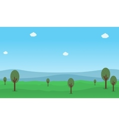 Flat of hill and tree nature landscape vector