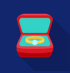 ring in box icon in flat style isolated on white vector image