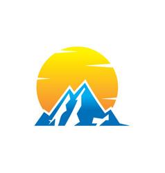 Mountain and sun logo design vector