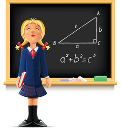 Girl near school blackboard vector