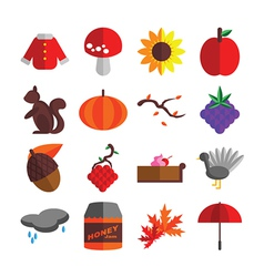 Autumn season icons set vector