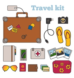 Travel kit with important things vector
