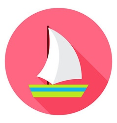Flat sea ship circle icon with long shadow vector