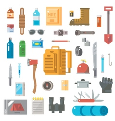 Flat design of suvival kit set vector