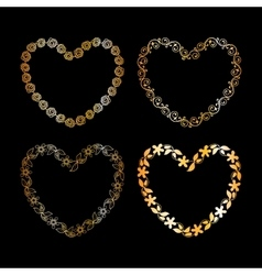 Golden floral heart frame vector