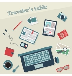 Travelers table with icons vector
