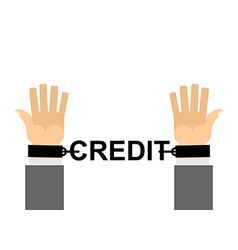 Hands shackled with chains credit financial vector