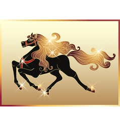 Galloping black horse vector