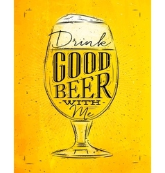 Poster good beer yellow vector